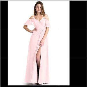 Azazie Dakota Blushing Pink Bridesmaid Dress Long